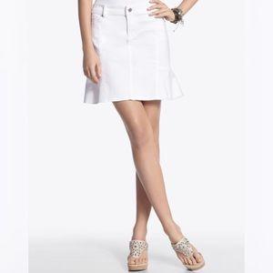 WHBM White Denim Front Pocket Peplum Skirt